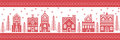 Christmas and festive winter wonderland village pattern in cross stitch style with gingerbread house, church little town buildings