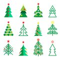Fir tree icons set Winter Holiday christmas decoration Royalty Free Stock Photo