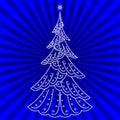 Christmas fir-tree on blue Royalty Free Stock Photo