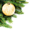 Christmas fir tree border with festive ornaments isolated on wh white background copy space for text branches Stock Photography