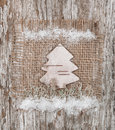 Christmas fir tree made of birch bark on the burlap Stock Photography