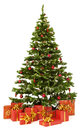 Christmas fir tree and presents gifts box over white background Royalty Free Stock Photo