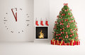 Christmas fir tree in the room with big clock fireplace and Stock Photo