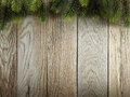 Christmas fir tree on wood texture background old panels with natural patterns Royalty Free Stock Photo