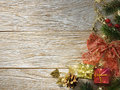 Christmas fir tree on wood texture with natural patterns background Royalty Free Stock Photography