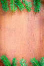 Christmas fir tree on a wooden board backgrounds Royalty Free Stock Image