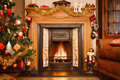 Christmas fireplace Stock Image