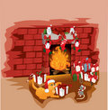 Christmas fireplace with cat and mouse Royalty Free Stock Images
