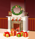 Christmas fireplace with Christmas gift boxes Royalty Free Stock Photo