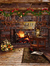 Christmas fireplace with garlands colorful and presents Royalty Free Stock Photos