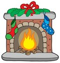 Christmas fireplace with stockings Stock Images