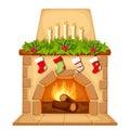 Christmas fireplace. Vector illustration.