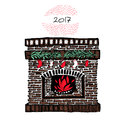 Christmas fireplace vintage vector illustration