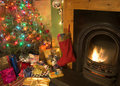 Christmas Fireside Royalty Free Stock Photo