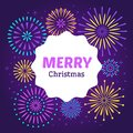 Christmas firework poster. Merry xmas holiday 2019 celebration fireworks. Vector background