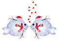 Christmas fish in love two funny isolated on white background Royalty Free Stock Photography
