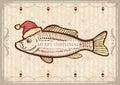Christmas fish in Santa red hat.Vintage drawing ca Royalty Free Stock Photo