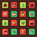 Christmas flat icons in a square with long shadow Royalty Free Stock Image
