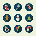 Christmas flat icons vector design Stock Photos