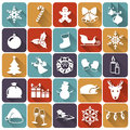Christmas flat icons vector illustration set of and new year with long shadows Royalty Free Stock Photography