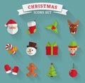 Christmas flat icons. Vector set.