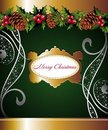 Christmas floral background with pinecone Royalty Free Stock Image