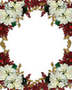 Christmas floral border poinsettias Royalty Free Stock Images