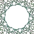Christmas floral circular frame . Mistletoe branches with leafs and berries. Christmas greeting card template