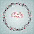 Christmas floral wreath with holly berry and handwritten words Royalty Free Stock Photo