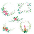 Christmas flower bouquets and frames Royalty Free Stock Photo