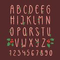 Christmas font candy cane vector type alphabet New Year card print design font characters and numbers for invitation Royalty Free Stock Photo