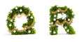 Christmas font set fir tree letters Royalty Free Stock Photography
