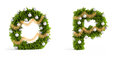 Christmas font set fir tree letters Royalty Free Stock Photo