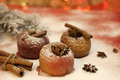 Christmas food baked apples closeup Royalty Free Stock Photography