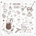 Christmas food and desserts set. Hand drawn icons