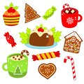 Christmas food and drink. Gingerbread cookies, candy cane, sweets and other. Colorful stickers, icons for New Year menu and other Royalty Free Stock Photo