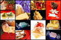 Christmas food and ornaments collage of some typical elements such as panettone pandoro spumante gingerbread cookies some presents Royalty Free Stock Photo