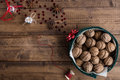 Christmas Food Scene with Walnuts and Decorations on Rustic Table Royalty Free Stock Photo