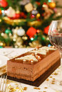 Christmas food on table chocolate cake a dining Royalty Free Stock Images