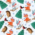 Christmas forest animals vector seamless pattern. Funny woodland animal characters repeat background