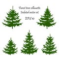 Christmas forest . Coniferous Forest. Winter Christmas Forest of fir trees silhouette for printing. EPS 10 Royalty Free Stock Photo