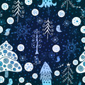 Christmas forest seamless pattern the bright winter Royalty Free Stock Images