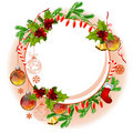 Christmas frame with balls and fir branches Stock Images