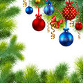 Christmas frame with baubles and christmas tree Royalty Free Stock Photo