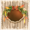 Christmas frame board garland ornaments birds silk with wooden bow tree decorations toys snowflakes grunge Stock Photo