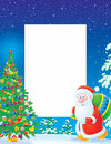 Christmas frame / border with Santa Claus Stock Photos