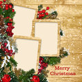 Christmas frame with decorations Stock Photos