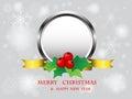 Christmas frame design on snowflake background .