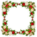 Christmas frame with fir branches, balls, bells, holly and poinsettia. Vector illustration.