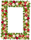Christmas frame with fir-tree branches, balls, bells, holly, poinsettia and cones. Vector illustration.
